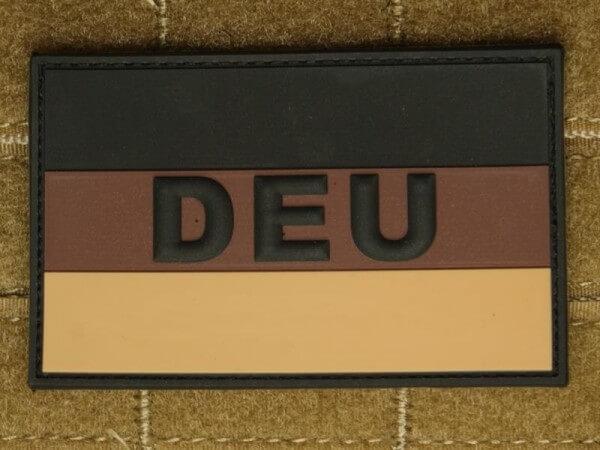 JTG - Deutschlandflagge - Patch, groß mit DEU Schriftzug, desert
