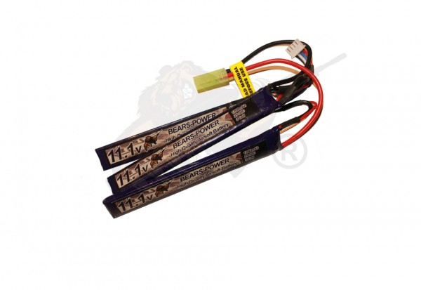 Bears- Power Airsoft LiPo Akku 11.1V 1200mAh, 25C dreiteilig - Mini Tamiya